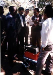 A group of young seismologists receives a lesson in seismographic techniques at a workshop in Ethiopia organized by the Eastern and Southern African Working Group, sponsored by the Committee for Developing Countries. (Courtesy R. Adams.)